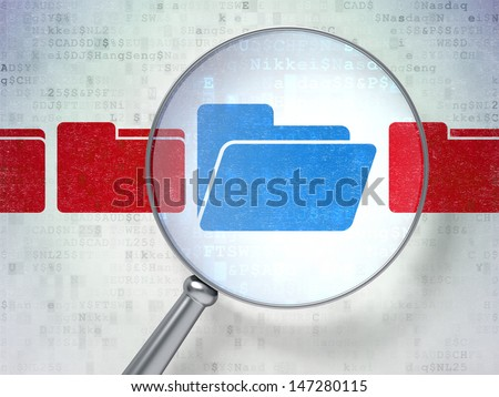 Magnifying optical glass with Folder icons on digital background, 3d render