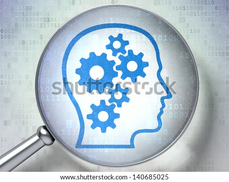 Magnifying optical glass with Head With Gears icon on digital background, 3d render - stock photo