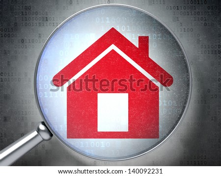Magnifying optical glass with Home icon on digital background, 3d render - stock photo