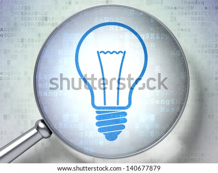 Magnifying optical glass with Light Bulb icon on digital background, 3d render - stock photo