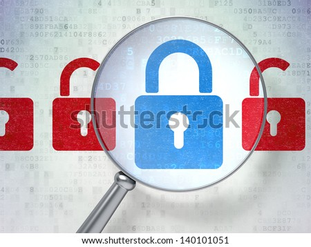 Magnifying optical glass with Locks icons on digital background, 3d render - stock photo