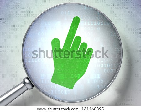 Magnifying optical glass with Mouse Cursor icon on digital background, 3d render - stock photo