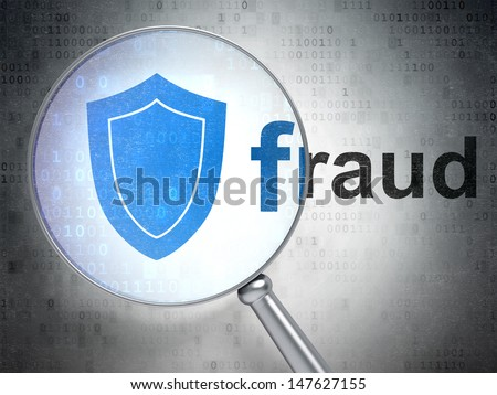 Magnifying optical glass with Shield icon and Fraud word on digital background, 3d render - stock photo