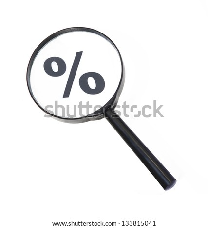 Magnifying percent symbol,Money concept. - stock photo