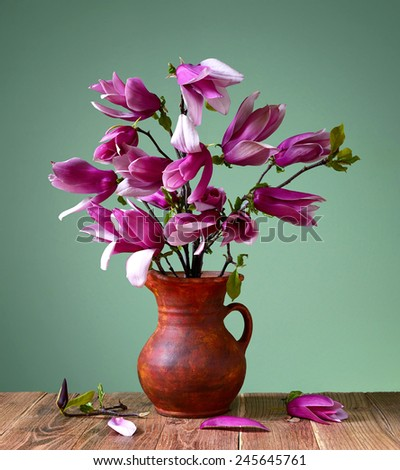 Magnolia in a ceramic vase on the table - stock photo