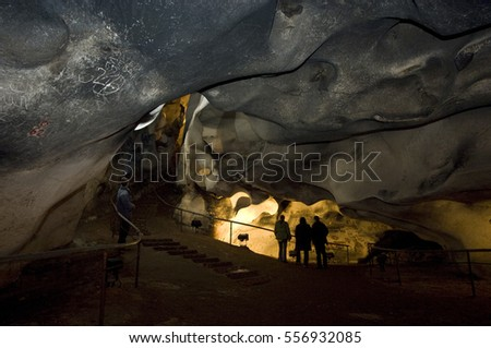 Magura cave in Bulgaria. Prehistoric paintings on rock
