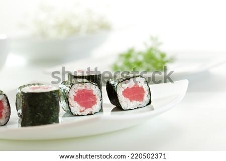 Maguro Maki Sushi - Roll with Fresh Tuna - stock photo