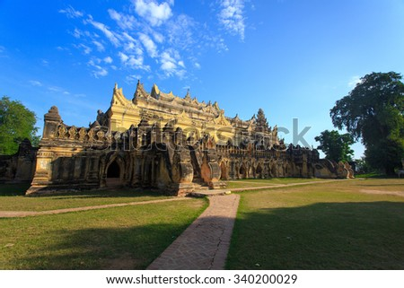 Maha Aung Mye Bon Zan Monastery in Inwa built by the Konbaung dynasty early 19th century (ancient city of Ava) at Mandalay, Myanmar - stock photo