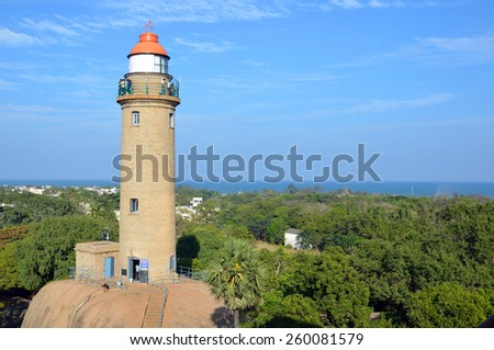 MAHABALIPURAM, INDIA ?? FEBRUARY 7 2015: Mahabalipuram Lighthouse was constructed in 1900 and is 26 meters high.It is a best known lighthouse in the India's Eastern Coast.   - stock photo