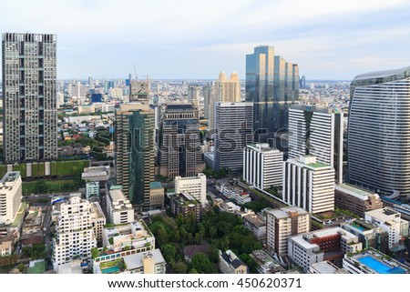 Mahanakorn tower city center business of Bangkok.  Silom area, Bangkok.Panoramic and perspective wide high rise building skyscraper commercial city of future. Business success industry tech. - stock photo