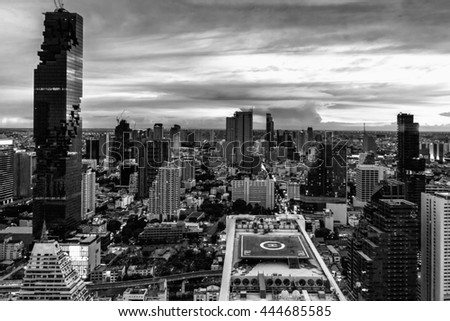 Mahanakorn tower city center business of Bangkok. sunset, Bangkok.Panoramic and perspective wide high rise building skyscraper commercial city of future. Business success industry tech.black white. - stock photo