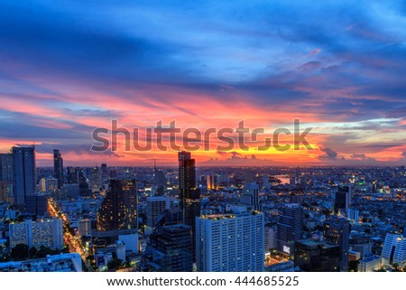 Mahanakorn tower city center business of Bangkok. sunset, Silom area, Bangkok.Panoramic and perspective wide high rise building skyscraper commercial city of future. Business success industry tech. - stock photo