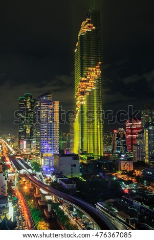 Mahanakorn tower city center business of Bangkok. The Night Of Light.Panoramic and perspective wide high rise building skyscraper commercial city of future. Business success industry tech.