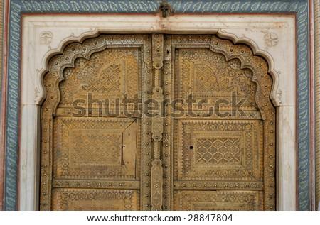 Maharaja golden door In Jaipur, India - stock photo