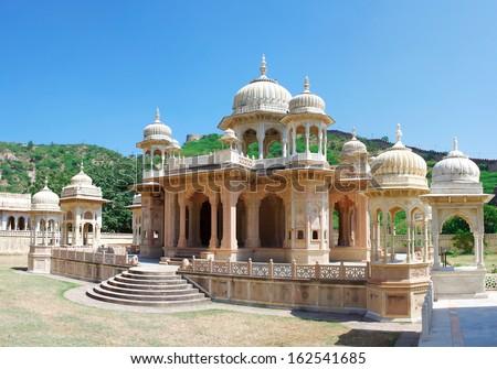 Maharaja Sawai Mansingh II, museum trust the city palace . Gatore Ki Chhatriyan, Jaipur, Rajasthan, India.  - stock photo