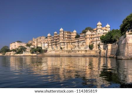 Maharajah Palace in Udaipur city, India - stock photo