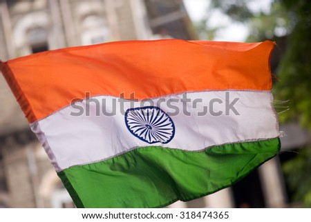 MAHARASHTRA, INDIA August 20, 2011: Indian flag closeup in Anna Hajare's all Indian anti-corruption movement on August 20, 2011, Mumbai, Maharashtra, India, south East Asia - stock photo