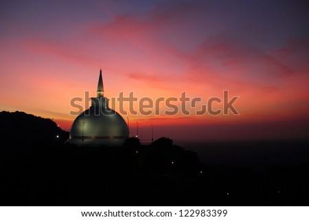Mahaseya Stupa at sunset, Mihintale, Sri Lanka - stock photo