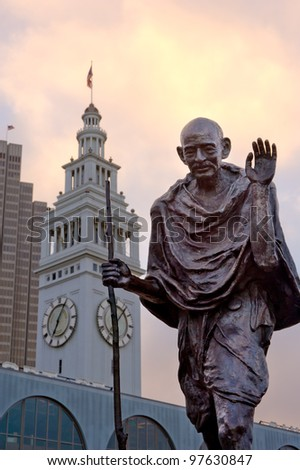 Mahatma Gandhi ferry building San Francisco - stock photo