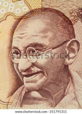 Mahatma Gandhi portrait on indian 500 rupee banknote macro, India money closeup - stock photo