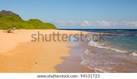Mahaulepu beach near Poipu on south coast of Kauai - stock photo