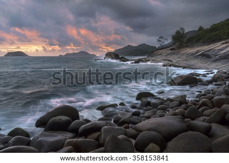 Mahe island, Seychelles at sunset