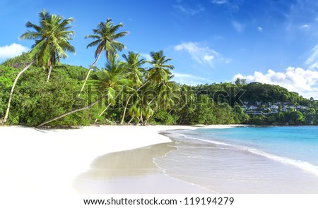 Mahe island, Seychelles. Baie Lazare (Beach). The island of dreams for a rest and relaxation. White coral beach sand. A heavenly place. - stock photo