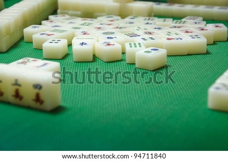 mahjong tiles - stock photo