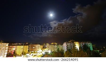 Mahmutlar. night view - stock photo