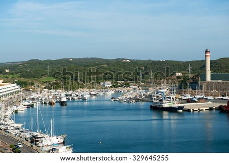 MAHON, SPAIN - OCT 07, 2014: View of the port of Mahon, Menorca, Spain, on Oct  07, 2014
