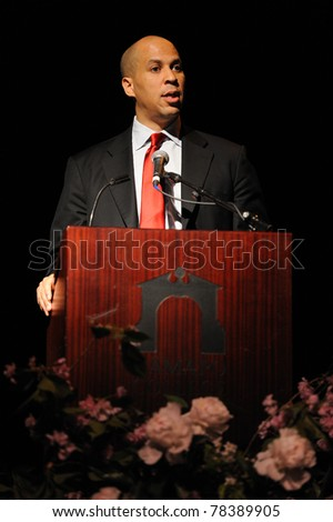 MAHWAH, NJ-MAY 3: The Honorable Cory Booker, Mayor City of Newark, speaks at the Russ Berrie Awards for Making A Difference Celebration on May 3, 2011 at Ramapo College of New Jersey in Mahwah, NJ.