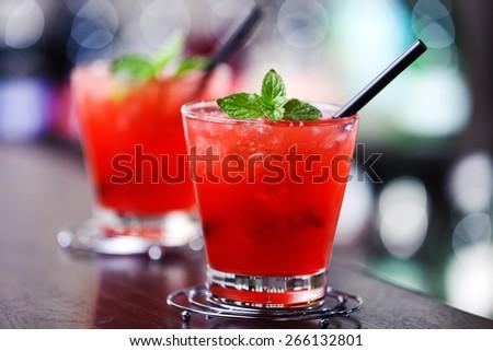 Mai Tai cocktail shot on a bar counter - stock photo