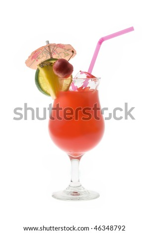 Mai Tai mixed drink with fruit and umbrella garnish on white background - stock photo
