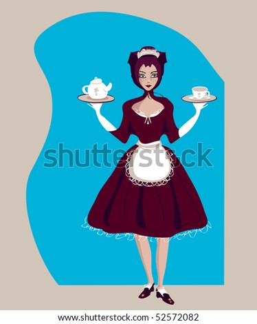 Maid serves tea