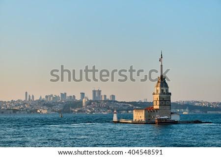Maiden's Tower illuminated at dawn. Istanbul. Sunset - stock photo