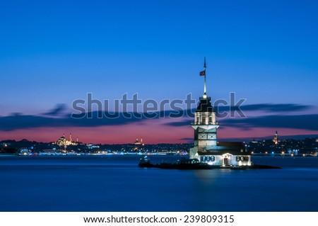 Maiden's Tower in istanbul, Turkey (KIZ KULESI - USKUDAR)  - stock photo