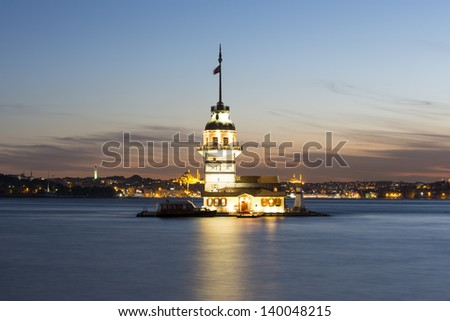 Maiden's Tower (Kiz Kulesi) also known as Leander's Tower since the medieval Byzantine period, is a tower lying on a small islet located at the southern entrance of the Bosphorus. - stock photo