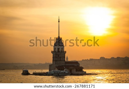 Maiden's Tower (Kizkulesi) located in the middle of Bosphorus strait in Istanbul, Turkey - stock photo