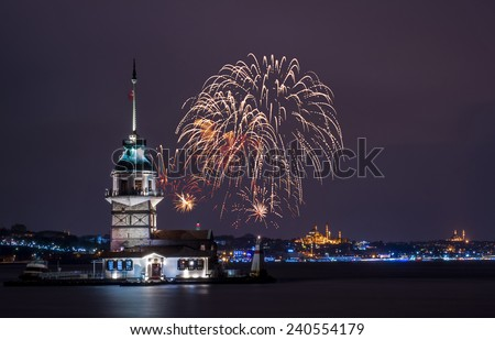 Maiden's Tower with fireworks. istanbul, Turkey - stock photo