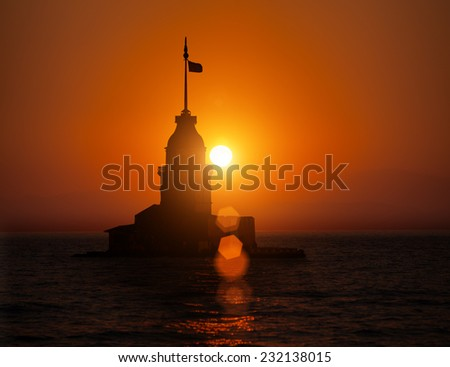 Maiden Tower during sunset  in Istanbul Turkey - stock photo