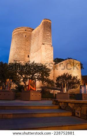Maiden Tower in the evening, Baku, Azerbaijan - stock photo