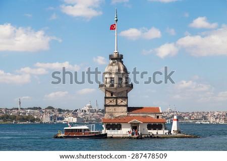 Maiden Tower (Kiz Kulesi) in Istanbul, Turkey. - stock photo