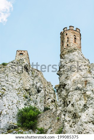 Maiden tower on the rock. Devin castle, Slovakia, Central Europe. - stock photo