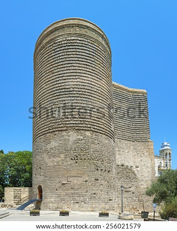 Maiden Tower (Qiz Qalasi) in the Baku Old City, Azerbaijan - stock photo
