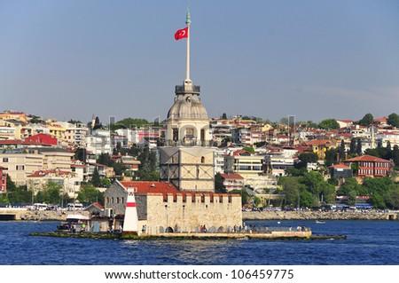 Maiden Tower (Tower of Leandros, Turkish: Kiz Kulesi) Istanbul, Turkey - stock photo