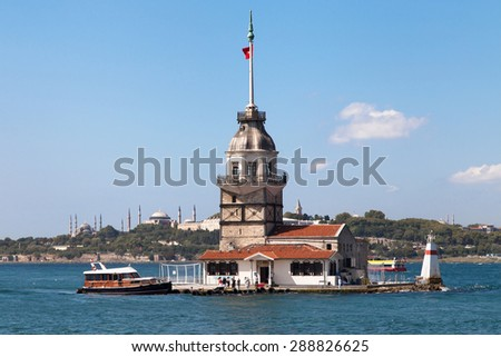 Maiden Tower with the Blue Mosque and Hagia Sophia in the background, Istanbul, Turkey. - stock photo