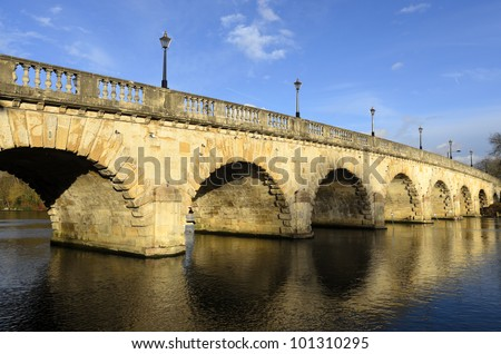 Maidenhead Bridge was built in 1777 from Portland Stone and carries the A4 road over the River Thames - stock photo