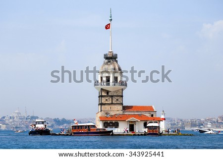 Maidens Tower at the  entrance to Bosporus Strait in Istanbul Turkey