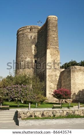 maidens tower landmark in baku azerbaijan - stock photo