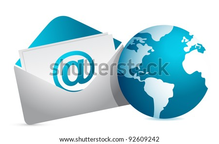 mail and globe illustration design over white background - stock photo